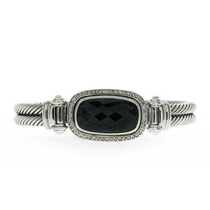 David Yurman Silver Diamond & Black Onyx Bracelet